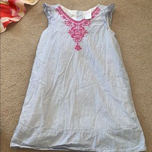 Gymboree blue/white stripe with pink embroidery